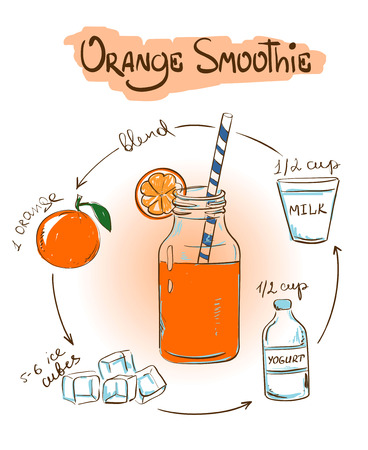 shake: Hand drawn sketch illustration with Orange smoothie. Including recipe and ingredients for restaurant or cafe. Healthy lifestyle concept.
