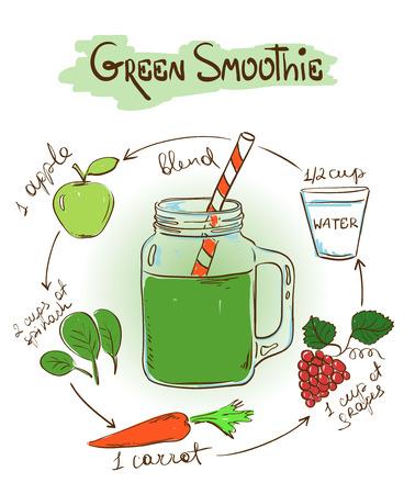 グリーンのスムージー手描きスケッチ イラスト。レシピとレストランやカフェの成分を含みます。健康的なライフ スタイルのコンセプト。  イラスト・ベクター素材