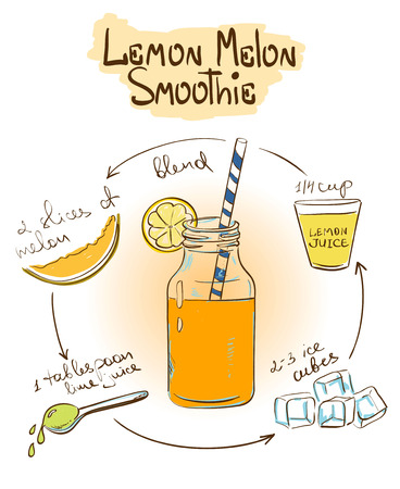 Hand drawn sketch illustration with Lemon Melon smoothie. Including recipe and ingredients for restaurant or cafe. Healthy lifestyle concept. 矢量图像