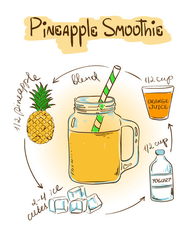 Hand drawn sketch illustration with Pineapple smoothie. Including recipe and ingredients for restaurant or cafe. Healthy lifestyle concept.