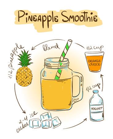 Hand getekende schets illustratie met ananas smoothie. Inclusief recept en de ingrediënten voor het restaurant of cafe. Gezonde levensstijl concept. Stock Illustratie