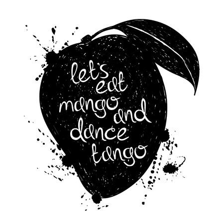 mango fruta: Dibujado a mano ilustraci�n de la silueta aislado negro mango sobre un fondo blanco. Cartel de la tipograf�a con el lema creativo. Vectores