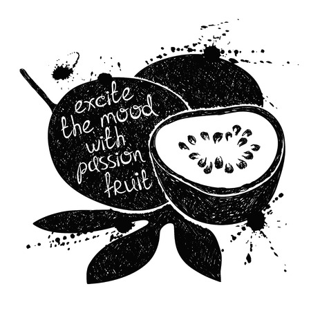 passion ecology: Hand drawn illustration of isolated black passion fruit silhouette on a white background. Typography poster with creative slogan. Illustration