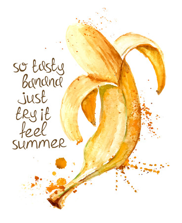 Watercolor hand drawn illustration of isolated banana fruit silhouette on a white background. Typography poster with creative slogan. Vectores