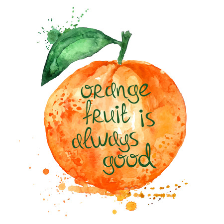 Watercolor hand drawn illustration of isolated orange fruit silhouette on a white background. Typography poster with creative slogan. Vettoriali