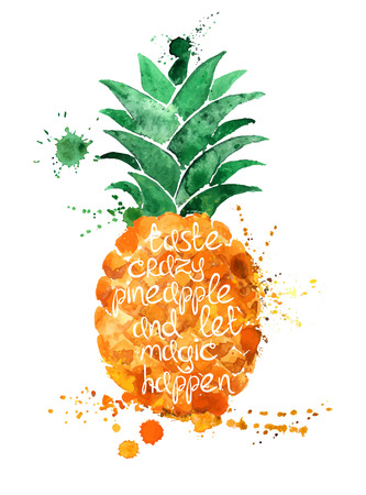 exotic fruits: Watercolor hand drawn illustration of isolated pineapple fruit silhouette on a white background. Typography poster with creative slogan.