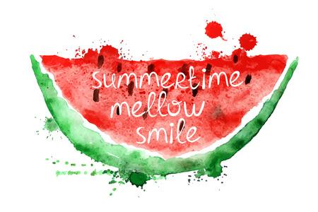 jugo de frutas: Acuarela dibujado a mano ilustración con aislados rebanada de sandía sobre un fondo blanco. Cartel de la tipografía con el lema creativo. Vectores
