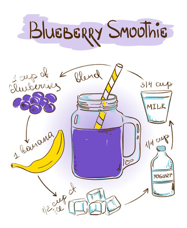 recipe background: Hand drawn sketch illustration with Blueberry smoothie recipe. Including recipe and ingredients for restaurant or cafe. Healthy lifestyle concept.