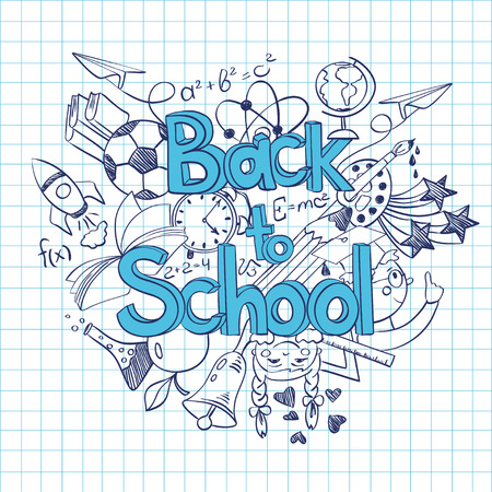 Hand drawn sketch Back to School background. Abstract funny school scribbles on a sheet of exercise book.