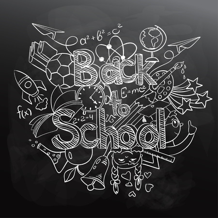 black board: Hand drawn sketch Back to School background. Abstract funny school scribbles on a black chalkboard.