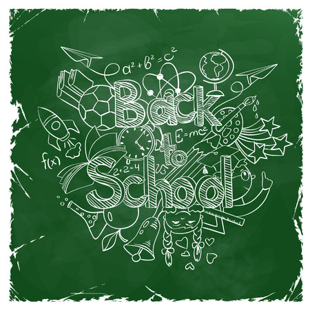 scribbles: Retro hand drawn sketch Back to School background. Abstract funny school scribbles on a green chalkboard. Illustration
