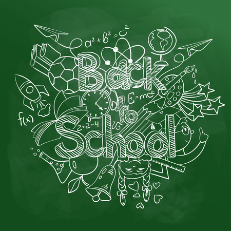 scribbles: Hand drawn sketch Back to School background. Abstract funny school scribbles on a green chalkboard.
