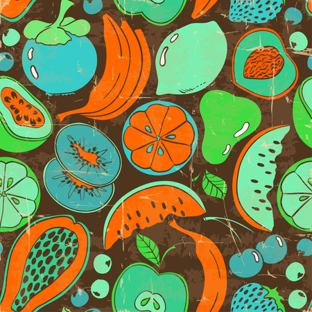 passion ecology: Retro funny colorful fruit seamless pattern. Cartoon fruits and berries pattern on a brown background.