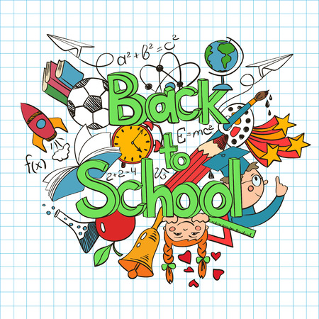exercise book: Hand drawn colorful sketch Back to School background. Abstract funny school scribbles on a sheet of exercise book. Illustration