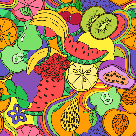 passion  ecology: Funny abstract psychedelic colorful fruit seamless pattern. Bright summer background with cartoon fruits and berries.