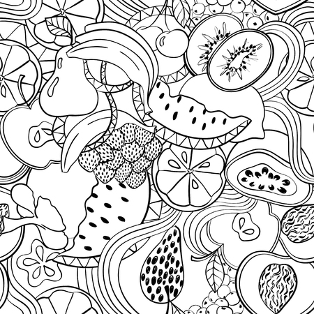 Funny abstract psychedelic fruit seamless pattern. Doodle black summer cartoon fruits and berries on a white background.
