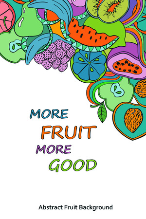 passion  ecology: Funny abstract psychedelic colorful fruits background. Healthy vegetarian concept poster or card.