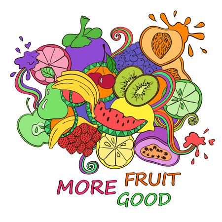 passion ecology: Funny abstract psychedelic colorful fruits background. Healthy vegetarian concept.