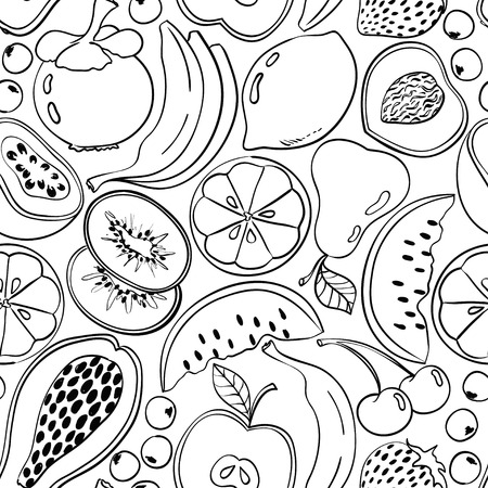Funny abstract doodle fruit seamless pattern. Black contour cartoon fruits and berries on a white background.