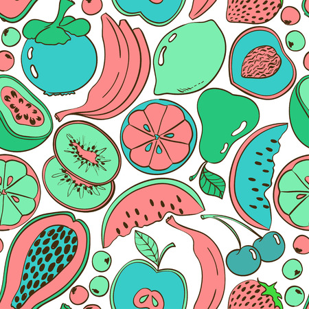 Funny abstract colorful fruit seamless pattern. Bright summer background with cartoon fruits and berries.