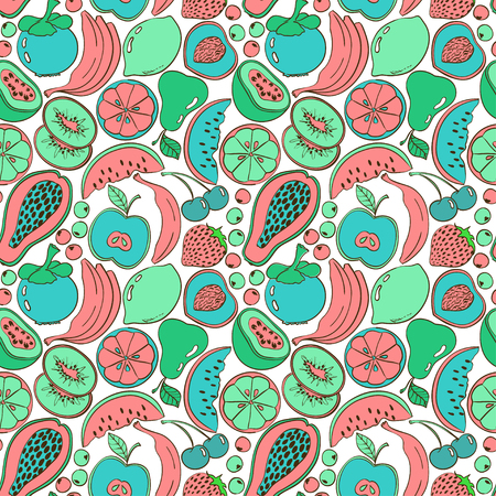 passion ecology: Funny abstract colorful fruit seamless pattern. Bright summer background with cartoon fruits and berries.