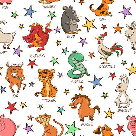 perros graciosos: doce divertidos del zodiaco chino animales signos y estrellas sobre un fondo blanco
