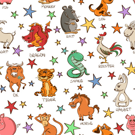 funny ox: twelve funny Chinese Zodiac animals signs and stars on a white background