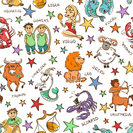 cartoon calendar: twelve funny Zodiac signs and stars on a white background