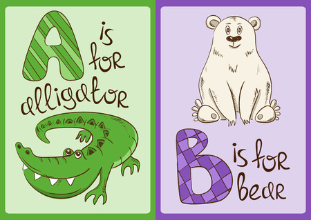 oso caricatura: Alfabeto colorido con los animales divertidos dibujos animados