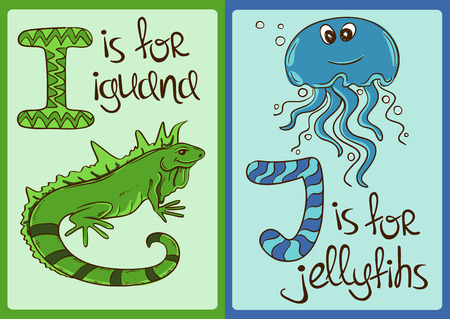Colorful Alphabet mit lustigen Comic-Tiere Standard-Bild - 43872751