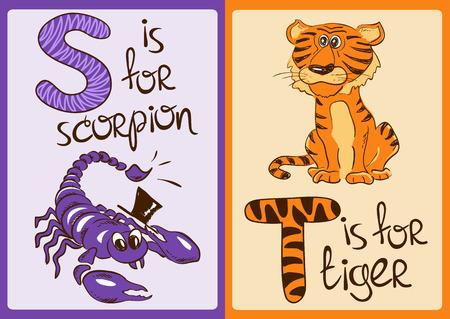 tigre caricatura: Alfabeto colorido con los animales divertidos dibujos animados