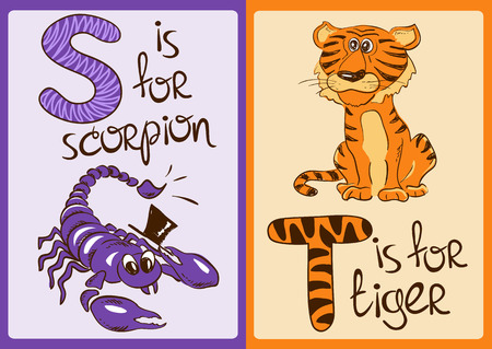 cartoon scorpion: Colorful alphabet with funny cartoon animals Illustration