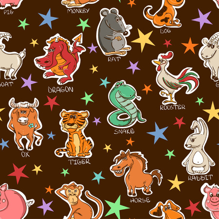 cartoon calendar: twelve funny Chinese Zodiac animals signs and stars on a brown background