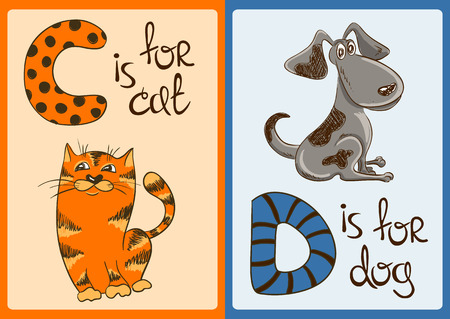 animals collection: Colorful alphabet with funny cartoon animals Illustration
