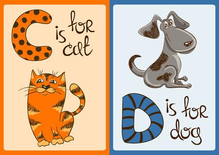 animal hand: Colorful alphabet with funny cartoon animals Illustration