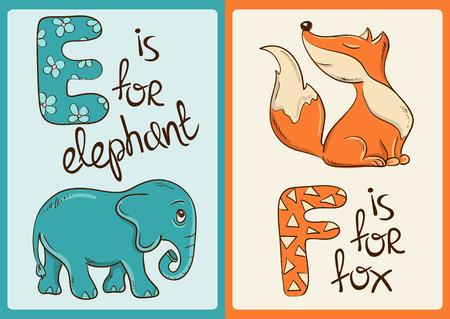 Alphabet coloré avec des animaux drôles de bande dessinée Banque d'images - 43872896
