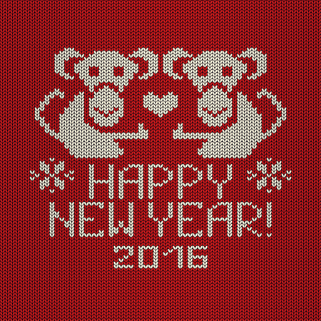Knitted pattern card with funny monkey. Chinese zodiac symbol of New Year 2016.