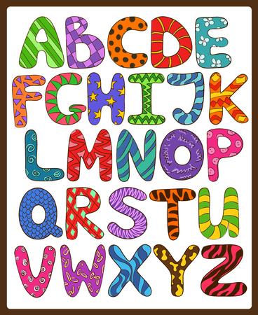 다채로운 어린이는 재미있는 만화 대문자로 알파벳. 재생 및 읽기 배웁니다.