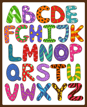 Niños coloridos Alfabeto con mayúsculas divertidos dibujos animados. Jugar y aprender a leer. Foto de archivo - 44790709