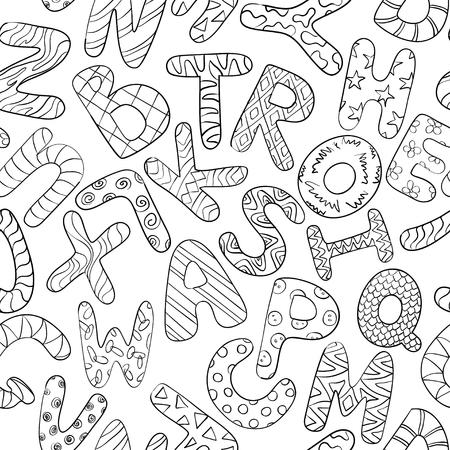 aprendizaje: Modelo inconsútil blanco y negro con mayúsculas divertidos dibujos animados. Fondo Libro para colorear con los niños alfabeto. Jugar y aprender a leer. Vectores