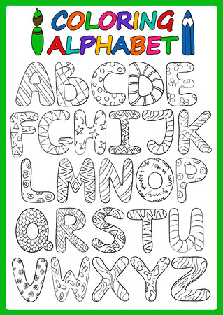 Children alphabet with funny cartoon capital letters. Coloring book children alphabet. Play and learn to read.