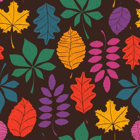 autumn leaves background: Seamless pattern of colorful autumn leaves on a brown background. Illustration