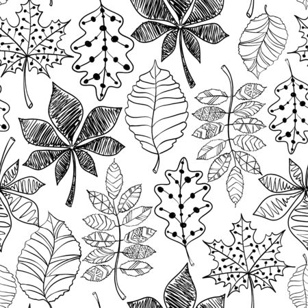 Seamless pattern of black patterned autumn leaves on a white background. Illustration