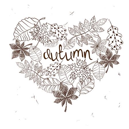 feuille arbre: Croquis automne motifs laisse dans une forme de coeur. Concept de l'automne Creative. Illustration