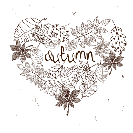 fall in love: Sketch patterned autumn leaves in a heart shape. Creative autumn concept. Illustration