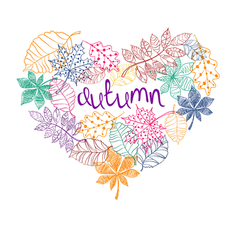creative concept: Colorful sketch patterned autumn leaves in a heart shape. Creative autumn concept. Illustration