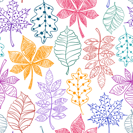 yellow background: Seamless pattern of colorful patterned autumn leaves on a white background.