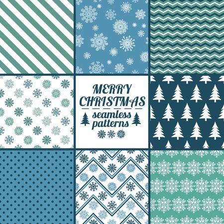 flocon de neige: Ensemble de No�l et Nouvel An mod�les sans couture avec des flocons de neige. Bleu et blanc scrapbook d'hiver conception horizons. Tous les mod�les sont inclus dans le menu Swatch.