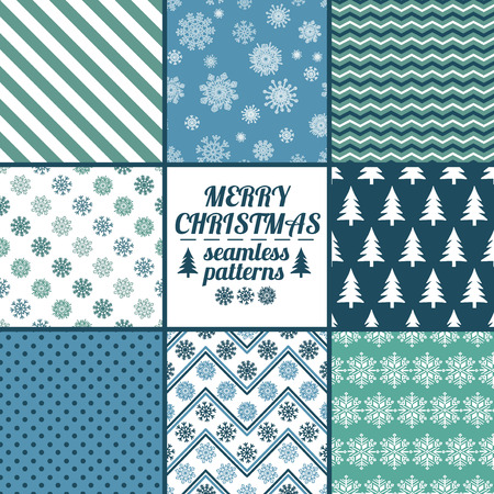 wrappings: Set of Christmas and New Year seamless patterns with snowflakes. Blue and white winter scrapbook design backgrounds. All patterns are included in swatch menu. Illustration