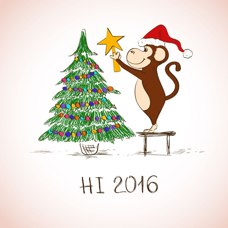 christmas symbol: New Year and Christmas greeting card. Funny sketching monkey decorate the Christmas tree. Symbol of the New Year 2016. Illustration